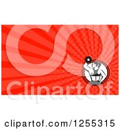 Clipart Of A Retro Female Bodybuilder Business Card Design Royalty Free Illustration