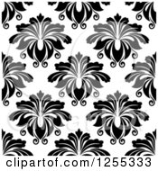 Clipart Of A Seamless Black And White Damask Pattern Background Royalty Free Vector Illustration