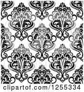 Clipart Of A Seamless Black And White Damask Pattern Background Royalty Free Vector Illustration by Vector Tradition SM