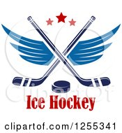 Clipart Of A Puck And Winged Crossed Hockey Sticks Over Text Royalty Free Vector Illustration
