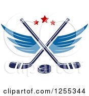 Clipart Of A Puck And Winged Crossed Hockey Sticks Royalty Free Vector Illustration