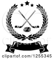 Clipart Of A Black And White Laurel Wreath With Hockey Sticks And A Puck Over A Blank Banner Royalty Free Vector Illustration