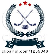 Clipart Of A Laurel Wreath With Hockey Sticks And A Puck Over A Blank Banner Royalty Free Vector Illustration
