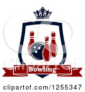 Poster, Art Print Of Bowling Shield With A Crown And Text Banner