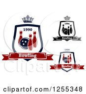 Clipart Of Bowling Shields With Crowns And Text Royalty Free Vector Illustration