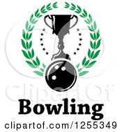 Poster, Art Print Of Bowling Ball And Trophy Cup In A Laurel Wreath Over Text