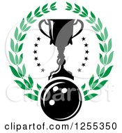Clipart Of A Bowling Ball And Trophy Cup In A Laurel Wreath Royalty Free Vector Illustration