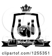 Clipart Of A Black And White Bowling Shield With A Crown And Text Banner Royalty Free Vector Illustration