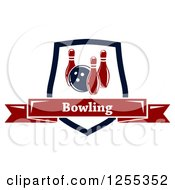 Clipart Of A Bowling Shield With A Text Banner Royalty Free Vector Illustration