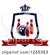 Clipart Of A Bowling Shield With A Crown And Banner Royalty Free Vector Illustration