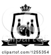 Clipart Of A Black And White Bowling Shield With A Crown And Banner Royalty Free Vector Illustration