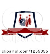 Clipart Of A Bowling Shield With A Blank Banner Royalty Free Vector Illustration