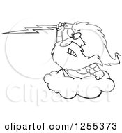 Clipart Of A Black And White Zeus Holding A Lightning Bolt On A Cloud Royalty Free Vector Illustration