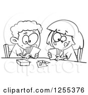 Clipart Of A Black And White Boy And Girl Playing A Go Fish Card Game Royalty Free Vector Illustration