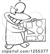 Clipart Of A Black And White Happy Penguin Holding Shapes Royalty Free Vector Illustration