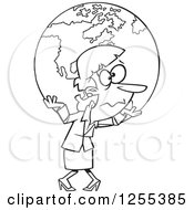 Clipart Of A Black And White Businesswoman Carrying Earth As A Burden Royalty Free Vector Illustration