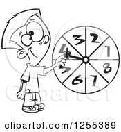 Clipart Of A Black And White School Boy Spinning A Probability Wheel Royalty Free Vector Illustration