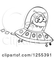 Clipart Of A Black And White Alien Flying A UFO Royalty Free Vector Illustration by toonaday