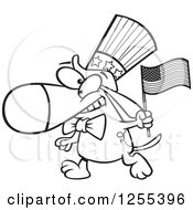 Clipart Of A Black And White Patriotic American Dog With A Flag Royalty Free Vector Illustration