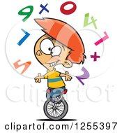 Clipart Of A Caucasian School Boy Juggling Numbers On A Unicycle Royalty Free Vector Illustration by Ron Leishman