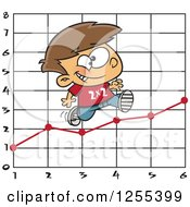 Clipart Of A Caucasian School Boy Running On A Multiplication Graph Royalty Free Vector Illustration by toonaday