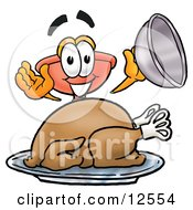 Sink Plunger Mascot Cartoon Character Serving A Thanksgiving Turkey On A Platter by Toons4Biz