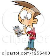 Clipart Of A White Boy Using A Calculator Royalty Free Vector Illustration