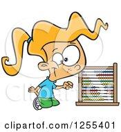 Blond Caucasian School Girl Using An Abacus