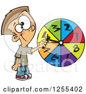 Clipart Of A Caucasian School Boy Spinning A Probability Wheel Royalty Free Vector Illustration by toonaday