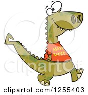 Clipart Of A Smart Dinosaur Wearing A Math Rocks Shirt Royalty Free Vector Illustration by Ron Leishman
