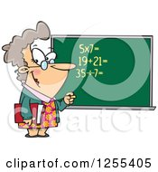 Caucasian Female Math Teacher At A Chalk Board