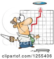 Clipart Of A Caucasian Businessman Cutting A Hole In The Ceiling For A Growth Chart Royalty Free Vector Illustration by Ron Leishman