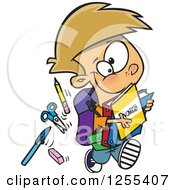 Clipart Of A Caucasian School Boy Running With His Accessories Royalty Free Vector Illustration