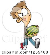 Clipart Of A Caucasian Boy Carrying A Watermelon Royalty Free Vector Illustration