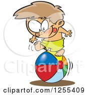 Clipart Of A White Boy Rolling On A Beach Ball Royalty Free Vector Illustration by toonaday