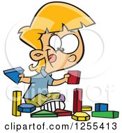 Clipart Of A Caucasian School Girl Playing With Manipulatives Blocks Royalty Free Vector Illustration