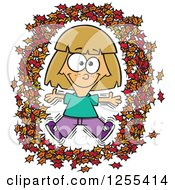 Clipart Of A Caucasian Girl Making An Angel In Autumn Leaves Royalty Free Vector Illustration