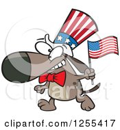 Clipart Of A Patriotic American Dog With A Flag Royalty Free Vector Illustration by Ron Leishman