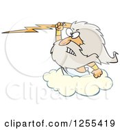 Clipart Of Zeus Holding A Lightning Bolt On A Cloud Royalty Free Vector Illustration