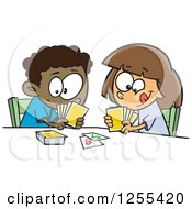 Clipart Of A Black Boy And White Girl Playing A Go Fish Card Game Royalty Free Vector Illustration by toonaday