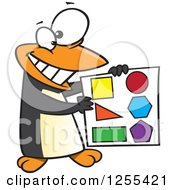 Clipart Of A Happy Penguin Holding Shapes Royalty Free Vector Illustration