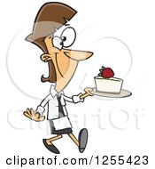 Clipart Of A Caucasian Chef Woman Serving A Slice Of Cheesecake Royalty Free Vector Illustration