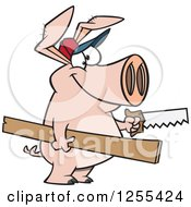 Clipart Of A Carpenter Pig Holding Lumber And A Saw Royalty Free Vector Illustration