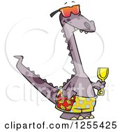 Clipart Of A Beach Dinosaur With Toys Royalty Free Vector Illustration by toonaday