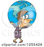 Clipart Of A Caucasian Businesswoman Carrying Earth As A Burden Royalty Free Vector Illustration