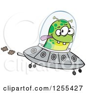 Green Alien Flying A Ufo