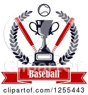 Clipart Of A Championship Trophy With Bats And A Baseball In A Wreath Over Text Royalty Free Vector Illustration