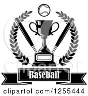 Clipart Of A Black And White Championship Trophy With Bats And A Baseball In A Wreath Over Text Royalty Free Vector Illustration