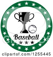 Clipart Of A Green Circle Of Stars Around A Baseball Trophy And Text Royalty Free Vector Illustration