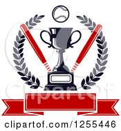 Clipart Of A Championship Trophy With Bats And A Baseball In A Wreath Over A Banner Royalty Free Vector Illustration